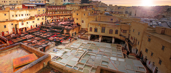 Tanneries in the medina of Fes in Morocco