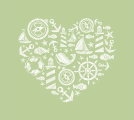 Sea heart background, green, vector. Dolphin, fish and attributes sea travel. White icons in the shape of a heart. Vector picture. Hatching with a white pencil on a green field. Imitation.
