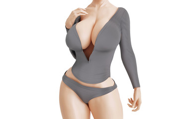 Busty woman with big cleavage in grey dress with deep neckline