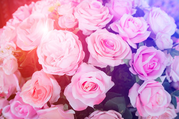 Bouquet of roses, artificial flowers made of crafts.