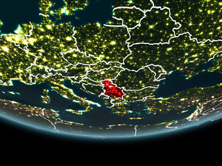 Serbia on Earth from space at night