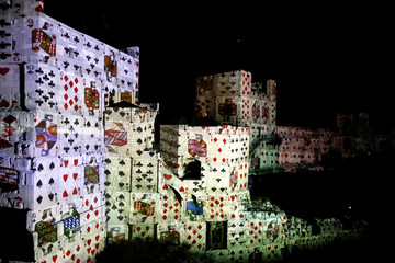 "The citadel walls of the Tower of David Museum are illuminated during the ""King David"" light and sound show, in Jerusalem's Old City"