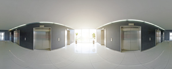 Spherical 360 degrees panorama projection, panorama in interior empty long corridor with doors and entrances to different rooms and lift.