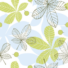 Leaves of chestnut. Vector seamless pattern.