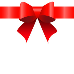 Red bow ribbon. Vector illustration for your design