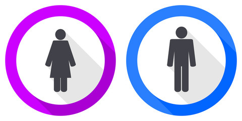 Set of female and male gender flat design vector icons