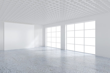 Empty office room with large billboard. 3D Rendering.