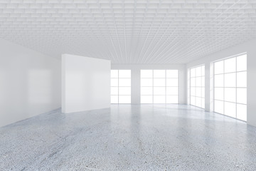 White emty office interior with large windows. 3d rendering.