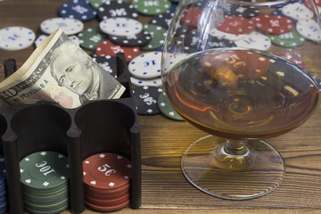 Poker chips card alcohol