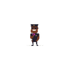 Pixel art policeman with donut on white background