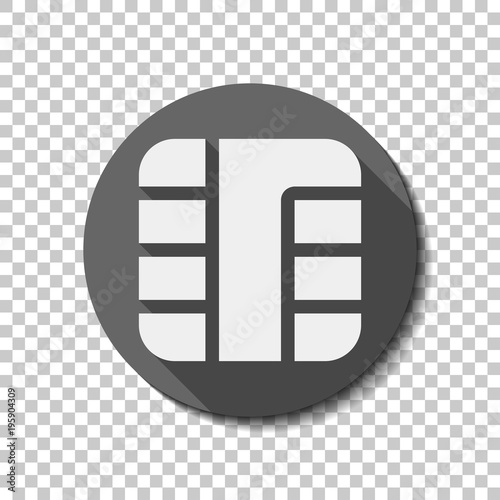 chip of credit card icon white flat icon with long shadow in circle