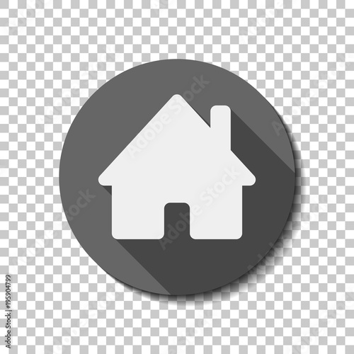 ea3ad3327cfc house icon. White flat icon with long shadow in circle on transparent  background