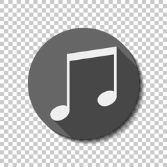 Music note icon. White flat icon with long shadow in circle on transparent background