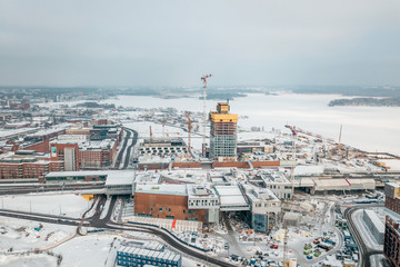Aerial view of new district of Helsinki Kalasatama, Redi Project, Kalasatama metro station
