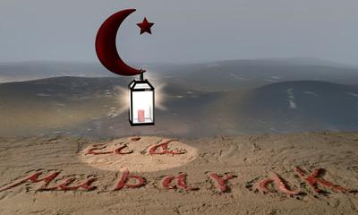 Sandstrand am Meer in dem der Text Eid Mubarak geschrieben steht. Darüber ein roter Halbmond mit stern an dem eine leuchtende Laterne hängt. 3d rendering