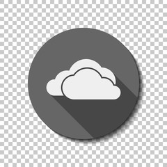 cloudy weather icon. White flat icon with long shadow in circle on transparent background