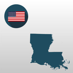 Map of the U.S. state of Louisiana on a white background. American flag.