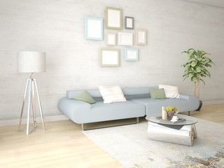 Mock up a bright living room with an exclusive floor lamp and a comfortable sofa.