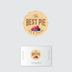 Best pie logo. Pie labels. Pie with strawberry, blueberry, blackberry, raspberry. Identity. Business card.