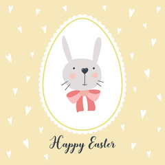 Greeting card with cute Easter bunny. Vector illustration. EPS 10.