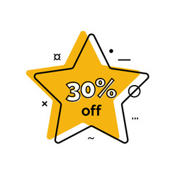 Thirty Percent Off Lettering on Star