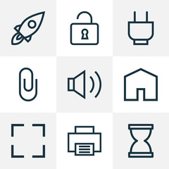 User icons line style set with home, printer, pin and other house  elements. Isolated vector illustration user icons.