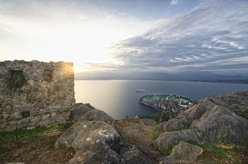 View from castle  Palamidi/ Panoramic view of the sunset from fortress Palamidi in Nafplion