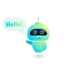 Cute bot say users Hello. Chatbot greets. Online consultation