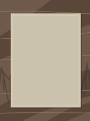 old retro light old beige sepia color frame photo on the brown wood background