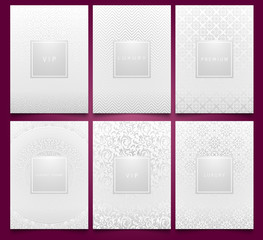 Vector set white packaging templates with silver linear geometric and floral damask pattern texture for luxury product. Trendy design for logo. Premium style brochure.