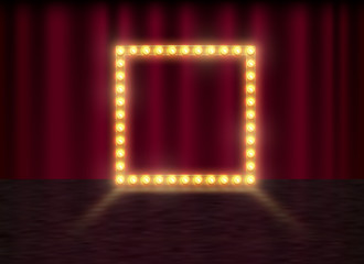 Square frame with glowing shiny light bulbs, vector illustration. Shining party banner on red curtain background and stage. Signboard with lamps border for lottery, casino, poker, roulette.