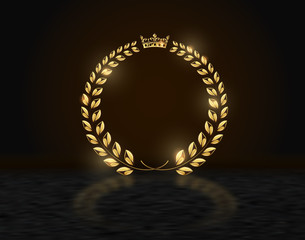 Detailed round golden laurel wreath crown award on dark background with reflection. Gold ring frame logo. Victory, honor achievement, quality product, anniversary. Vector illustration