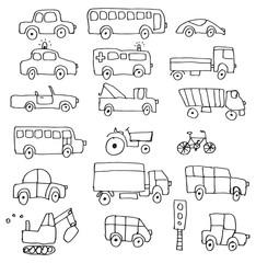 Simple hand drawn doodle cartoon cars set