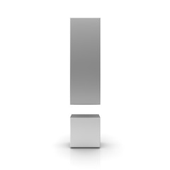 exclamation mark 3d silver exclamation point high resolution