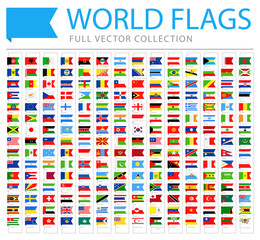 All World Flags - New Additional List of Countries and Territories - Vector Bookmark Flat Icons