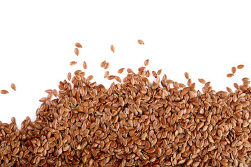 flax seeds isolated on white background with copy space for your text. Top view