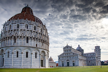 Pisa, Campo dei Miracoli - Baptistry, Cathedral, and leaning Tower