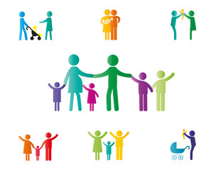 Family pictogram with parents and kids or couples.