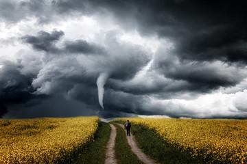 Einsamer Mensch auf dem Rapsfeld geht Richtung  Tornado