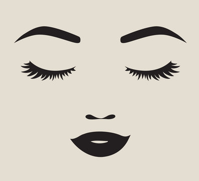 Vector illustration of a pretty woman face silhouette with eyelashes, eyebrows and lips.