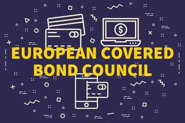 Conceptual business illustration with the words european covered bond council