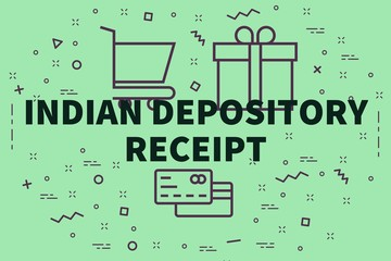 Conceptual business illustration with the words indian depository receipt