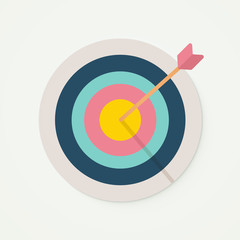 Target with perfect aim arrow. Vector illustration for target market , audience and consumer, success, perfection. Bullseye, goal, score sign.