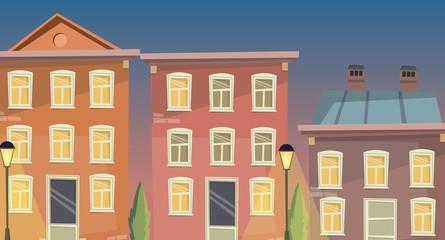 Cartoon building facade vector illustration, street, retro house background.