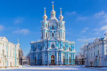 Petersburg. Museums of the city. Smolny Cathedral. Orthodox church. Winter view of St. Petersburg. Panorama of the city. Russia. Saint Petersburg