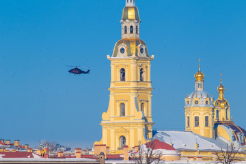 The helicopter is flying over St. Petersburg. Peter-Pavel's Fortress. Museums of Petersburg. Russian Federation.
