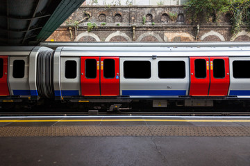 a view of London tube train with ads and people removed