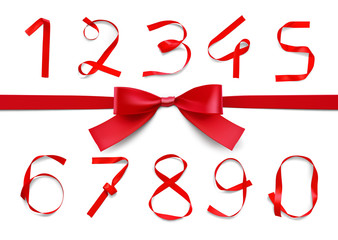 Set of red ribbon numbers with bow. Vector illustration on white background. Can be use for your design, presentation, promo. EPS10.