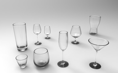 Frosted glasses, for varoius purposes in front of an light grey background