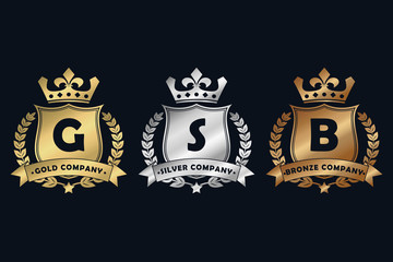 Gold, silver and bronze royal design logo with shield, crown, laurel wreath and ribbon. Luxury logotype template for company with royalty coat of arms. Vector illustration.